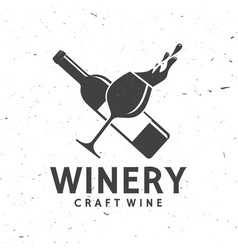 craft wine winery company badge sign or label vector image