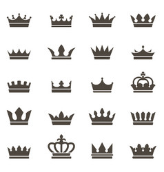 Crown icons queen king crowns luxury royal vector