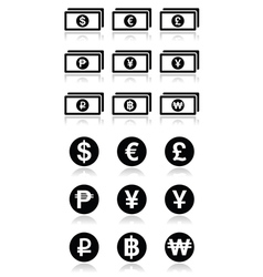 Currency exchange symbols - bank notes and coins i vector