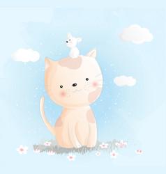 Cute baby cat watercolor style vector
