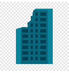 Destroyed city building icon flat style vector