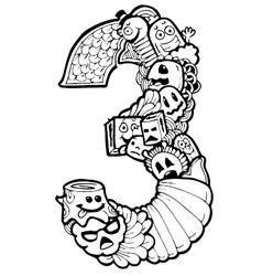 Doodle number 3 vector