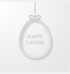 easter greeting card with hanging paper egg vector image vector image