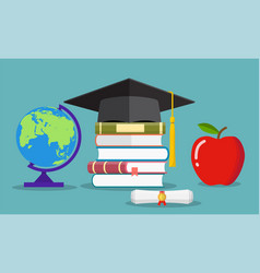 education concept graduate hat globe books vector image