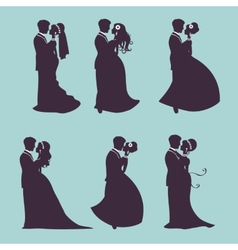 Elegant wedding couples in silhouette vector image