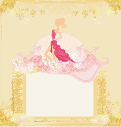 fashion silhouettes girl Shopping - abstract frame vector image