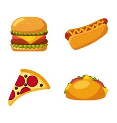 fast food set of icons menu unhealthy restaurant vector image