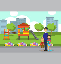 father daughter son full length avatar city park vector image