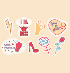 Femininity and girl power sticker set vector
