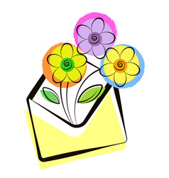 flowers in envelope delivery symbol vector image