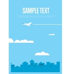 Flying white airplane in blue sky vector