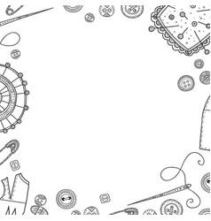 Frame needlework theme border vector