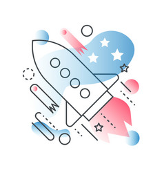 galaxy space ship rocket concept in trendy vector image