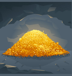 Golden treasure in cave vector