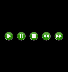 Green white music control buttons set vector