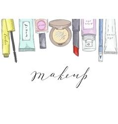 Hand drawn cosmetics set Beauty and makeup vector image