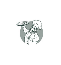 Happy chef holding pizza logo vector