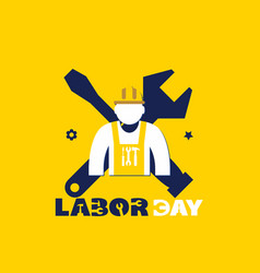 happy labor worker wrench yellow background vector image