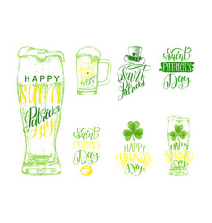 happy saint patricks day lettering sketches set vector image