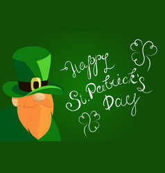 Happy st patrick s day lettering with beared vector