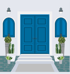 House door front with doorstep and mat steps vector