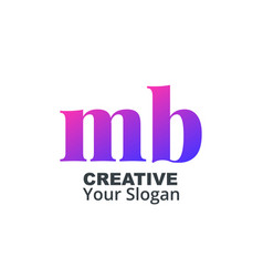 Initial letter mb lowercase design logo template vector