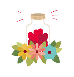 Jar with hearts isolated icon vector
