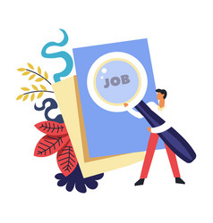 job search of person holding magnifying glass and vector image