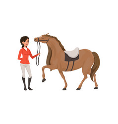 Jockey girl and thoroughbred horse equestrian vector