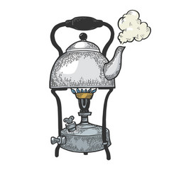 kettle pot in primus stove color sketch vector image