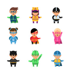 kids superheroes cartoon 2d game characters of vector image