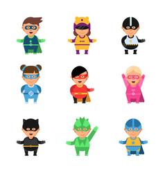 Kids superheroes cartoon 2d game characters vector