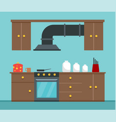 kitchen cook place concept background flat style vector image