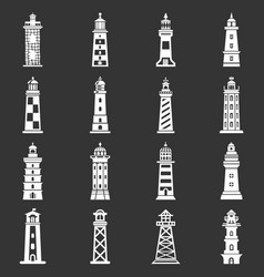 Lighthouse icons set grey vector