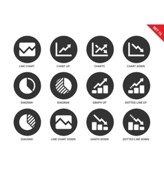 Line chart icons on white background vector