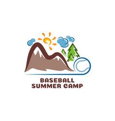 logo baseball summar camp fun cartoon logo vector image