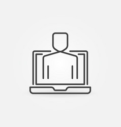 man in laptop concept icon in outline style vector image