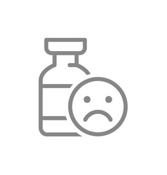 Medical ampoule and sad face line icon vector