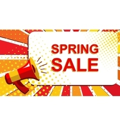 Megaphone with SPRING SALE announcement Flat vector