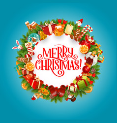 merry christmas gifts and presents frame vector image