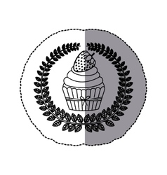 Middle shadow monochrome sticker with olive crown vector