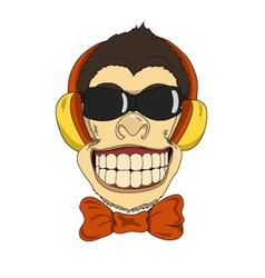 Monkey headphones vector