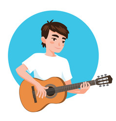 musician playing guitar asian boy guitarist is vector image
