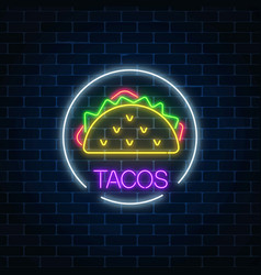 Neon glowing sign of tacos in circle frame on a vector