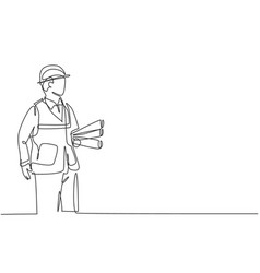 one continuous line drawing young architect vector image