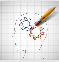 pencil erases gears in human head vector image