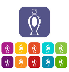 Perfume bottle icons set flat vector
