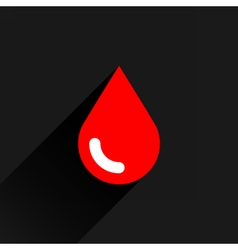 Red color drop icon with black long shadow vector