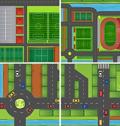 Scene with roads and sport fields vector