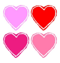 set colorful grunge hearts vector image